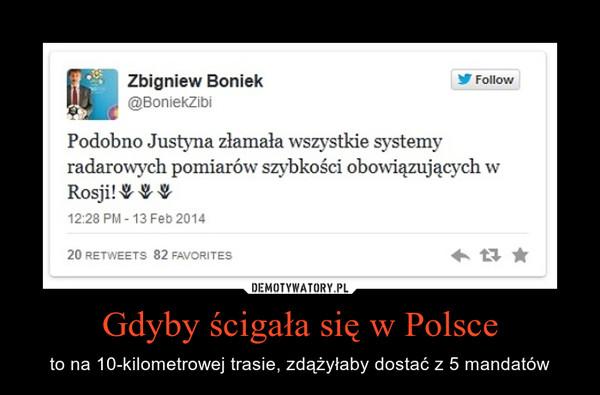 Gdyby ścigała się w Polsce – to na 10-kilometrowej trasie, zdążyłaby dostać z 5 mandatów
