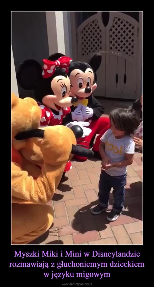 Myszki Miki i Mini w Disneylandzie rozmawiają z głuchoniemym dzieckiem w języku migowym –