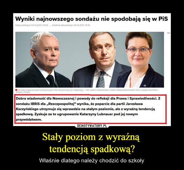 """Stały poziom z wyraźną tendencją spadkową? – Właśnie dlatego należy chodzić do szkoły Wyniki najnowszego sondażu nie spodobają się w PiS Dobra wiadomość dla Nowoczesnej i powody do refleksji dla Prawa i Sprawiedliwości. Z sondażu IBRiS dla """"Rzeczpospolitej"""" wynika, że poparcie dla partii Jarosława Kaczyńskiego utrzymuje się wprawdzie na stałym poziomie, ale z wyraźną tendencją spadkową. Zyskuje za to ugrupowanie Katarzyny Lubnauer pod jej nowym przywództwem."""